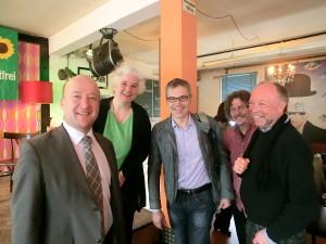 v.l.r.: Stephan Kelbert, Monika Fuhrig, Dr. Gerhard Schick, Martin Bauch-Grünewald, Jürgen Zinn